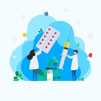注射。インフルエンザの予防接種。医学ヘルスケアの概念。医学的背景。ワクチンが入った大きな注射器と治療中に薬を飲んだ医師。注射器と錠剤を持つ医師