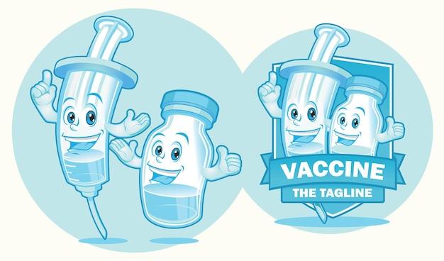 인젝터 및 백신 병 마스코트