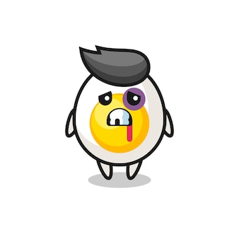 Injured boiled egg character with a bruised face , cute style design for t shirt, sticker, logo element