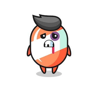 Injured candy character with a bruised face , cute style design for t shirt, sticker, logo element