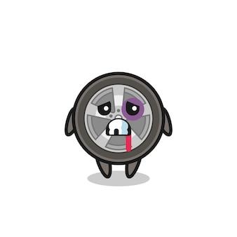 傷ついた顔、tシャツ、ステッカー、ロゴ要素のかわいいスタイルのデザインで負傷した車のホイールのキャラクター