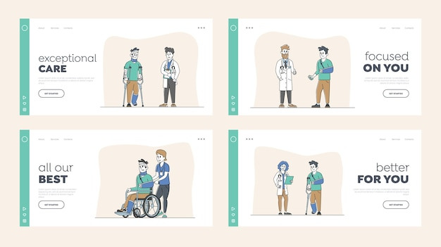 Injured characters landing page template set. man on wheelchair with bandaged head, patients with broken hand and leg, person on crutches with bandage visit doctor. linear people