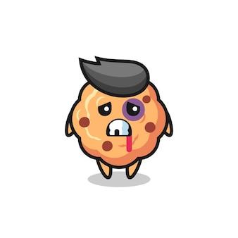 Травмированный персонаж печенья с шоколадной крошкой с ушибленным лицом, симпатичный дизайн для футболки, наклейки, элемента логотипа