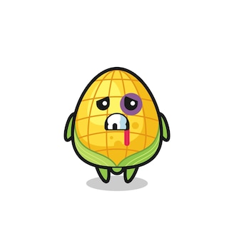 Injured corn character with a bruised face , cute style design for t shirt, sticker, logo element
