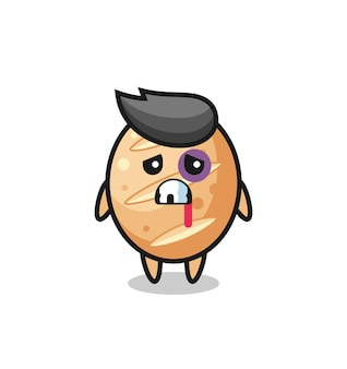 Injured french bread character with a bruised face , cute design