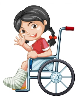 Injured girl on wheel chair