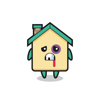 Injured house character with a bruised face , cute design