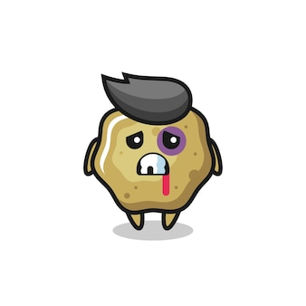 Injured loose stools character with a bruised face , cute style design for t shirt, sticker, logo element
