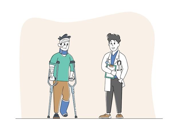 신체적 부상을 입은 부상당한 남자 캐릭터는 의사에게 이야기합니다.