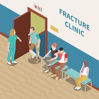 Persone ferite in attesa nell'illustrazione isometrica 3d della clinica di frattura