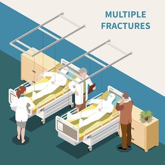 Пострадавшие с множественными переломами в больнице 3d изометрическая иллюстрация