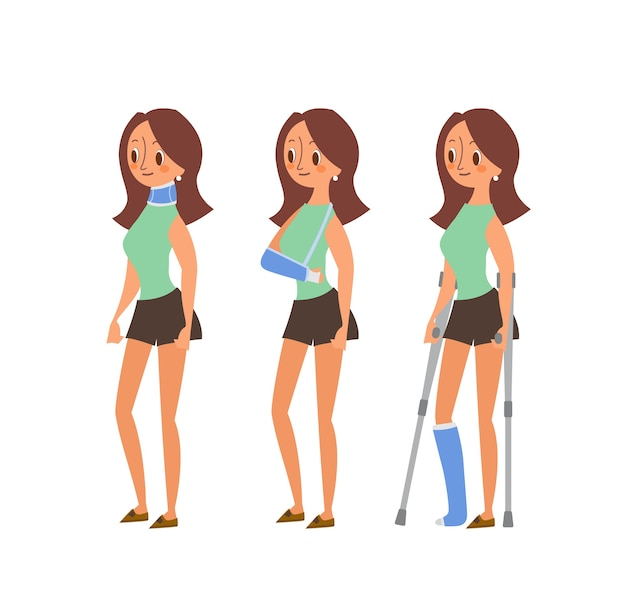 Injured woman cartoon illustrations. woman with broken legs in plaster cast, arm and neck injuries.  character isolated.