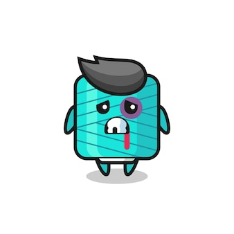 Injured yarn spool character with a bruised face , cute style design for t shirt, sticker, logo element