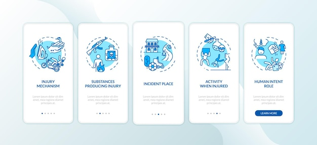 Injury mechanism, causes onboarding mobile app page screen with concepts. trauma producing substances walkthrough 5 steps graphic instructions. ui vector template with rgb color illustrations