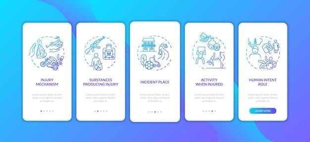 부상 메커니즘, 개념이 있는 모바일 앱 페이지 화면 온보딩 요인. 주요 외상은 연습 5단계 그래픽 지침을 유발합니다. rgb 색상 삽화가 있는 ui 벡터 템플릿입니다.