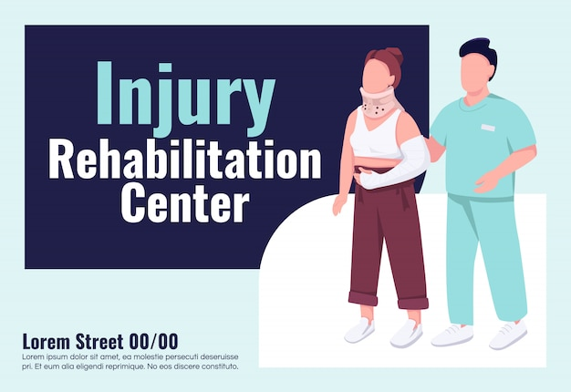 Injury rehabilitation center banner flat template. brochure, poster concept design with cartoon characters. physical traumas treatment horizontal flyer, leaflet with place for text