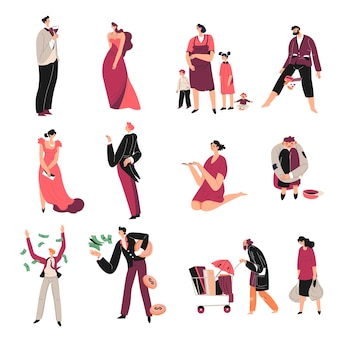 Injustice and inequality of people, rich characters compared to poor, richness and poverty. homeless and wealthy personages throwing money on wind. discrimination and comparison. vector in flat style