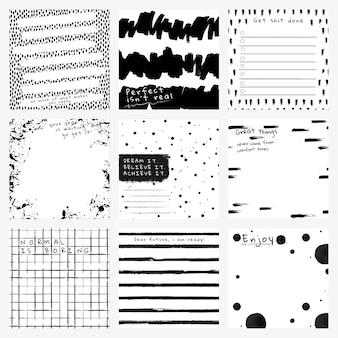 Ink background vector abstract brush patterns set