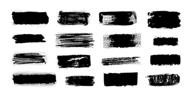 Кисть для чернил. мазки черной краской с грязной гранжевой текстурой, пятна, брызги кисти и потеки. векторный набор изолированных акварель силуэт баннеров или изолированных гранж элементы изображения украшения