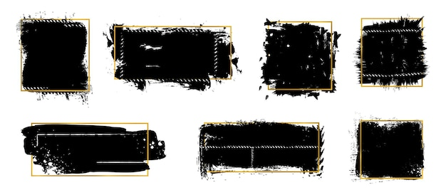 잉크 브러시도 말. 골든 프레임, 검은 grunge 텍스처입니다. 금 장식 벡터 세트가 있는 격리된 더러운 요소입니다. 튄 페인트, 그래픽 오 더러운, grunge 텍스처 그림