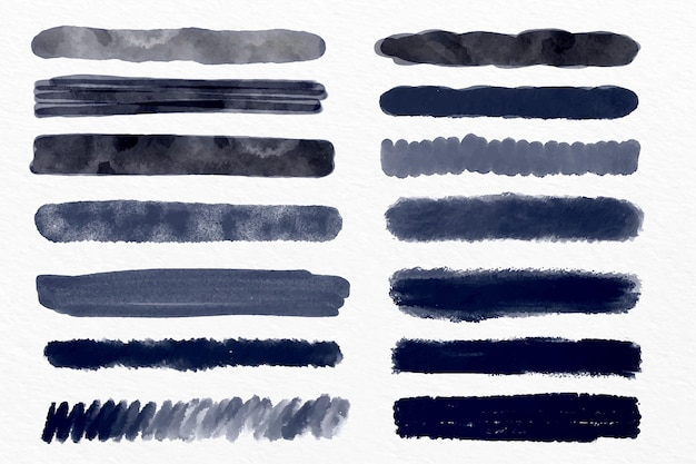 Ink brush stroke collection illustration