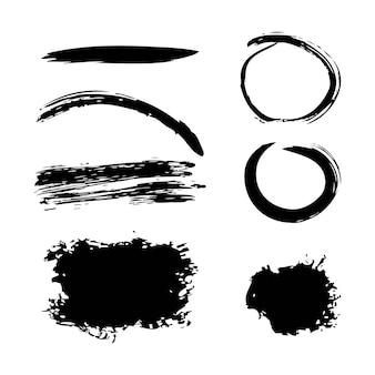 インクブラシストローク異なるグランデのクリエイティブな要素の絵筆
