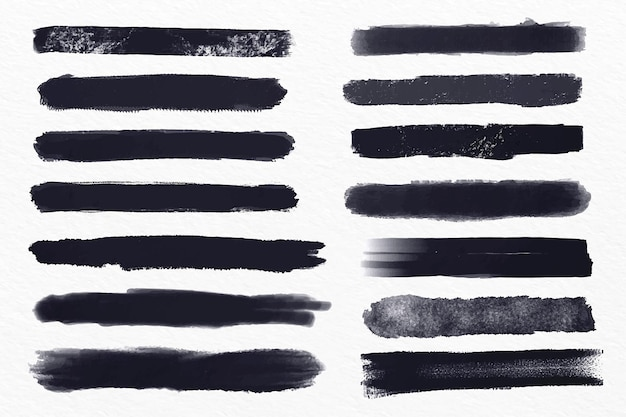 Ink brush stroke illustration set