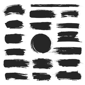 筆筆ストロークセット、黒グランジ塗抹標本コレクション