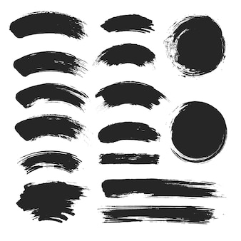Набор мазков кистью, черный мазок, гранж-эффект