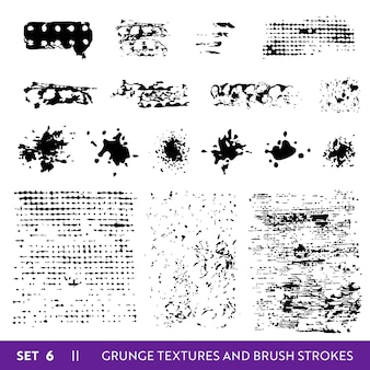 Ink brush strokes grunge collection. dirty design elements set. paint splatters, freehand grungy lines. vector illustration