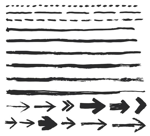 잉크 브러시 스트로크, 페인트 화살표 반점 세트. 손으로 만든 포인터 창조적 인 추상 디자인. 벡터