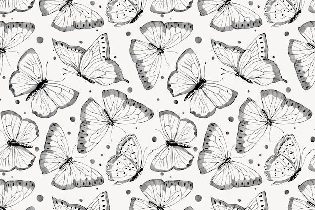 インク蝶の背景、線画パターンデザインベクトル