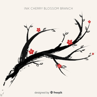 Ink cherry blossom background