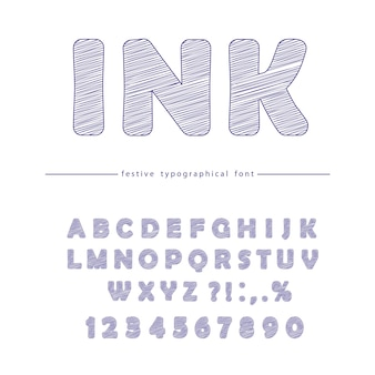 Ink doodle font design isolated on white.