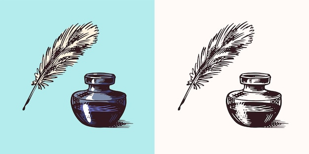 Ink and feather and inkwell in vintage engraved style retro vector illustration for woodcut or