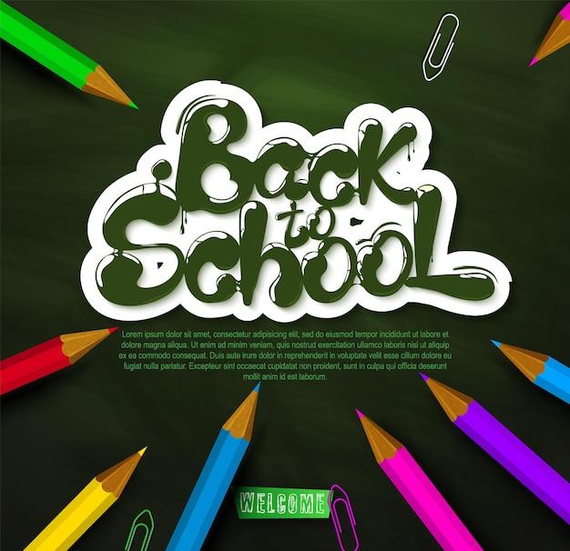 Чернила текут в форме надписи снова в школу надпись для баннеров, плакатов, листовок, вектор