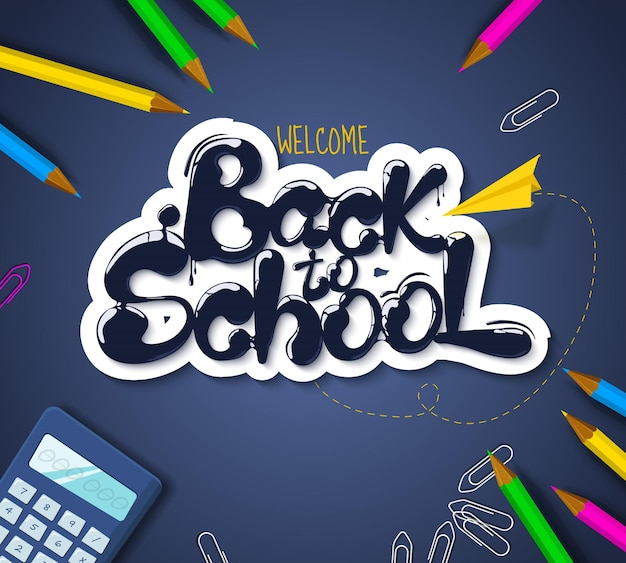 レタリングの形で流れるインク学校に戻る地形バナークリエイティブなスケッチデザインの広告
