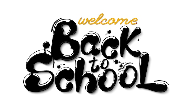 Ink flowing in lettering form back to school creative sketch design advertising