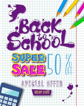 Ink flowing in lettering form back to school super sale topographic banner with pencils