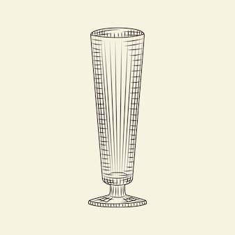 インク手描き空のガラスベクトルイラスト。明るい背景に分離されたビールスケッチのヴィンテージピルスナーグラス。彫刻スタイル。メニュー、カード、ポスター、版画、パッケージングに。