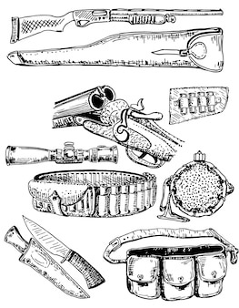 Ink hand drawn hunting equipment set