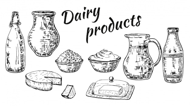Ink hand drawn sketch style dairy products set