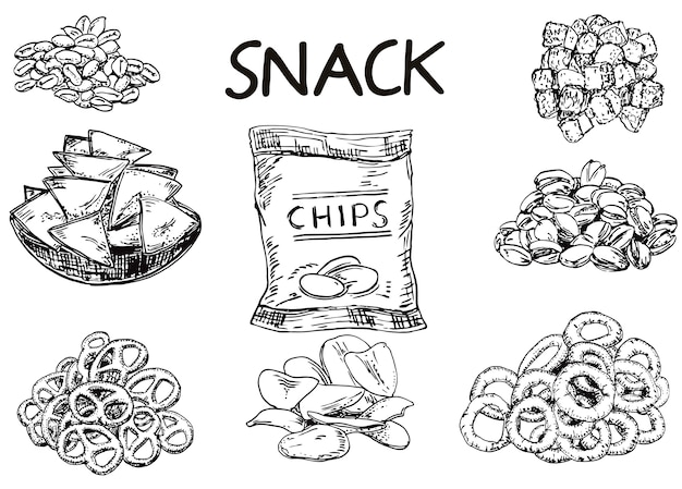 Ink hand drawn sketch style snack set