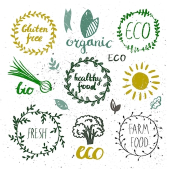 Ink logotypes set. badges, labels,leaves,ribbons,plants elements, laurel. organic bio ecology eco natural design template.hand drawing painting.vintage vector, black and white