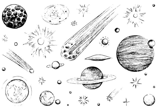 宇宙オブジェクトのインクスケッチ。彗星、惑星、星、小惑星のコレクション。手描きのベクトルイラストセット。白で隔離される黒のアウトライン要素。