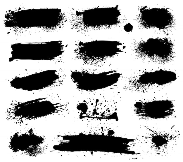 Ink splashes on white background. blots, brush stains