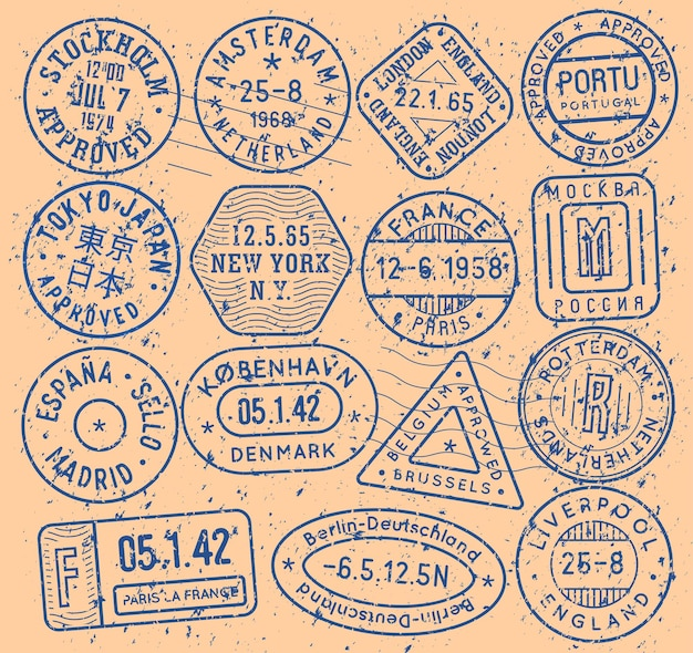 Ink stamps with city name for passport cover and touristic pattern, vector icon set