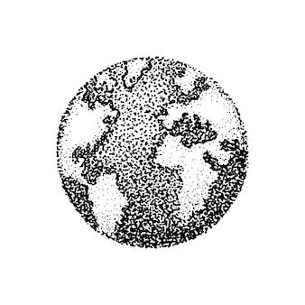행성 지구의 잉크 점묘 그림. 점묘 스타일의 점의 벡터 일러스트 레이 션