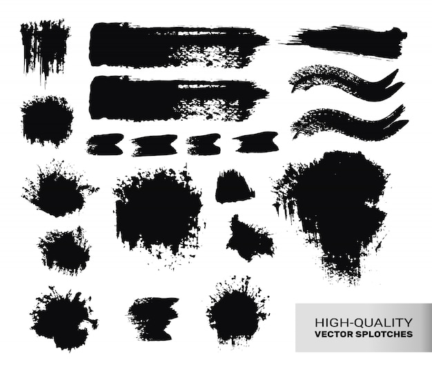 Inked paint brush strokes set.