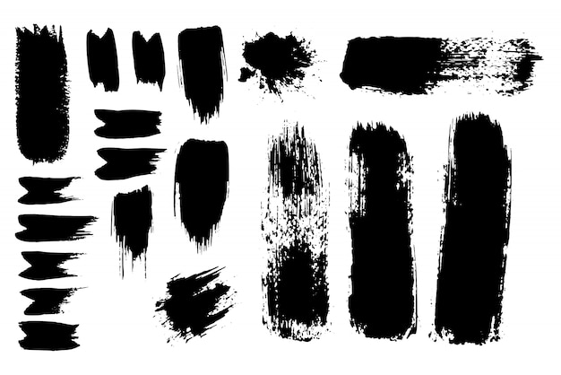 Inked vector paint brush strokes set. big collection of black silhouettes